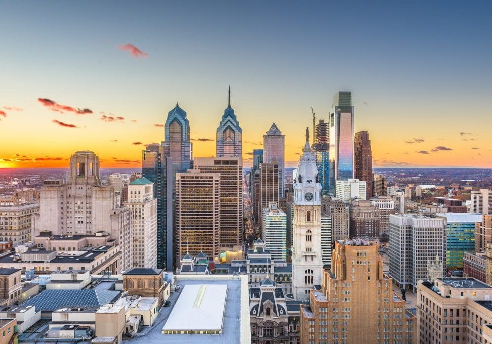 Philadelphia, Pennsylvania, USA skyline over Center City at sunset.