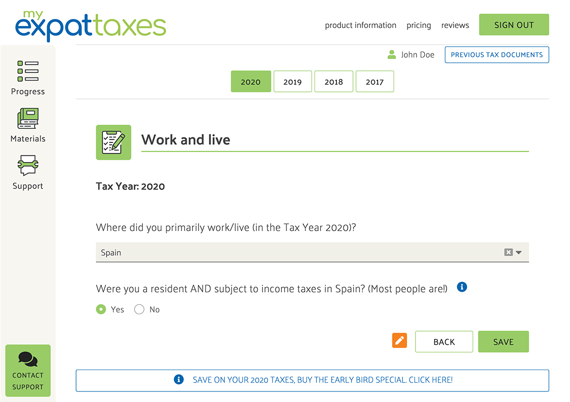 MyExpatTaxes Expat Tax Software Screenshot