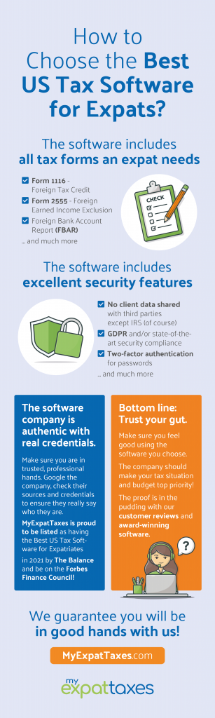how to choose the best US tax software for expats infographic