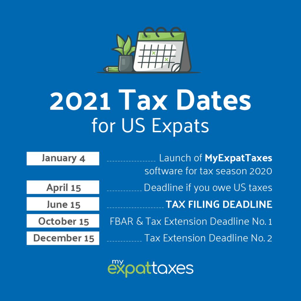 2021 Expat Tax Deadlines